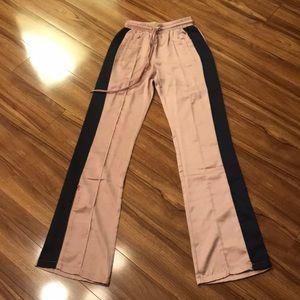Blush and navy satin pants